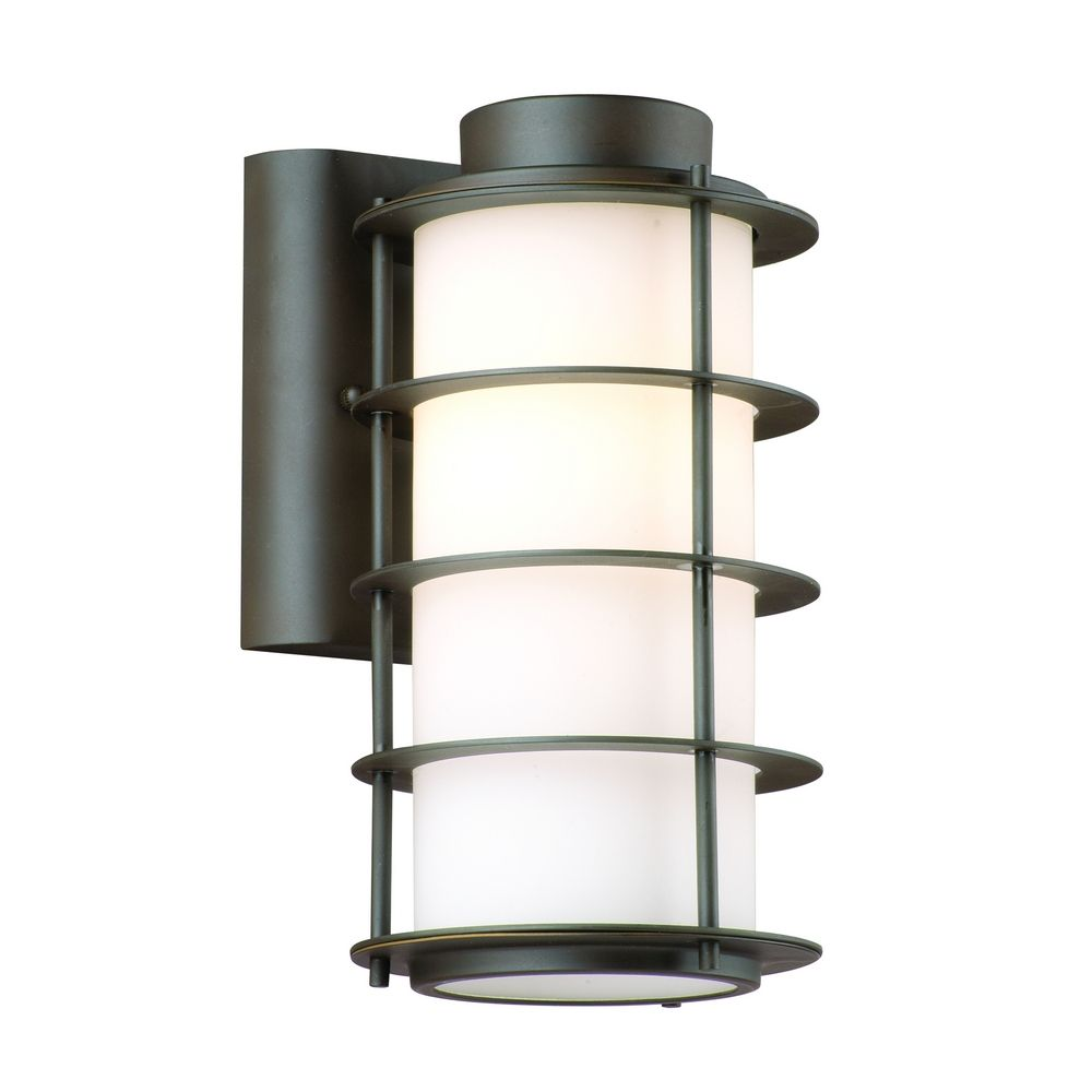 Modern Outdoor Wall Light With White Glass In Deep Bronze Finish F849768