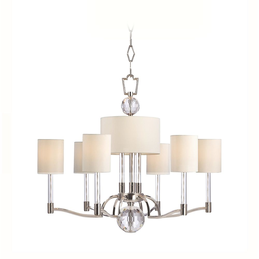 Modern Chandelier with White Shades in Polished Nickel Finish ...