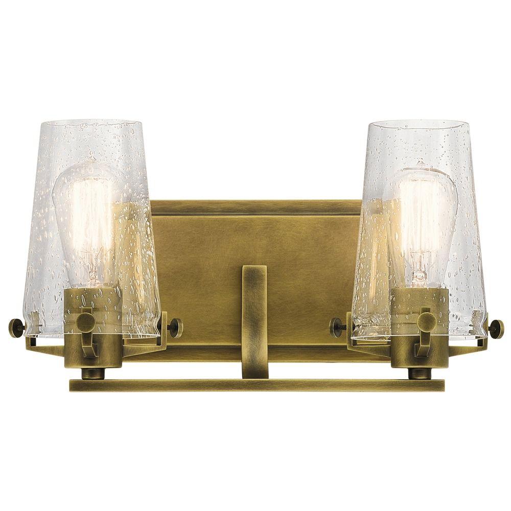 Seeded Glass Bathroom Light Brass Kichler Lighting