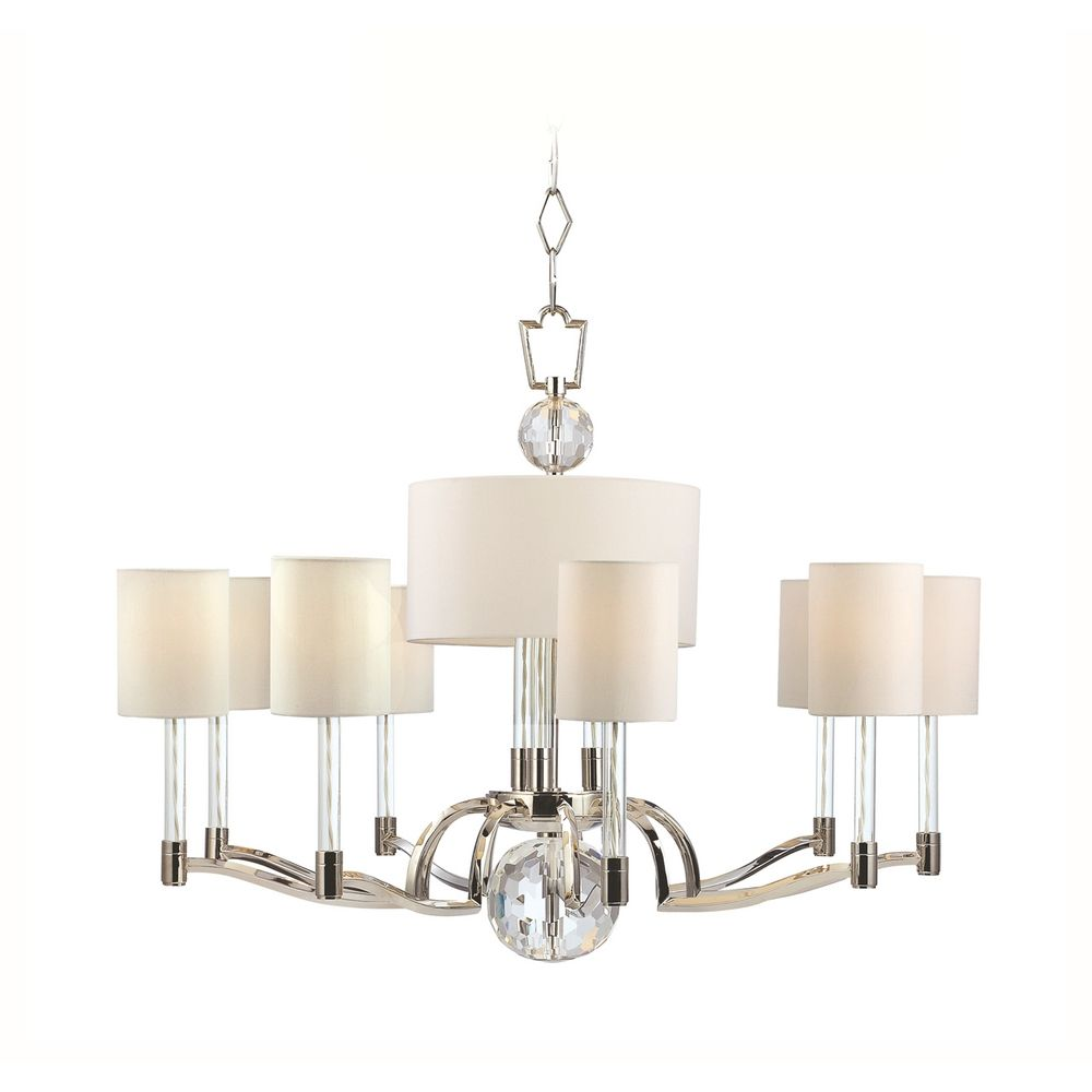 Modern chandelier with white shades in polished nickel finish 3009 pn destination lighting - White chandelier with shades ...