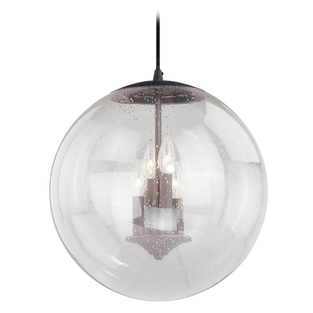 Black Iron Pendant Light Seeded Glass Globe Vaxcel