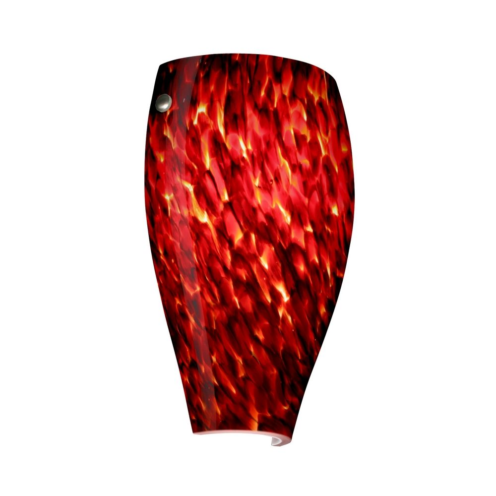 Sconce Wall Light with Red Glass in Satin Nickel Finish 704341-SN Destination Lighting