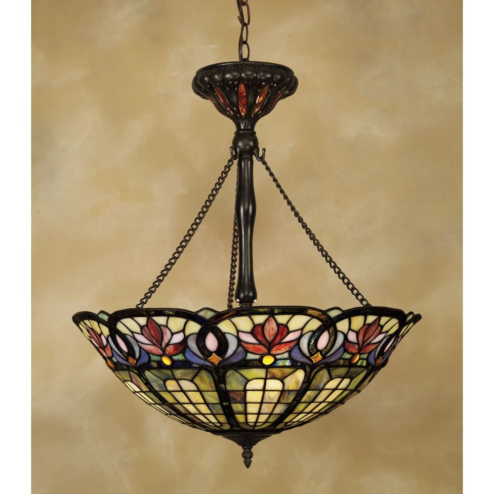Quoizel lighting tiffany pendant light in vintage bronze tf1438vb