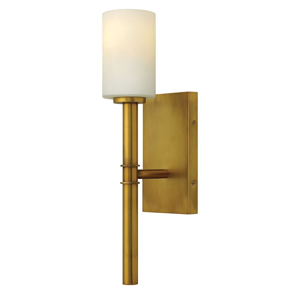 Vintage Glass Wall Sconces : Sconce Wall Light with White Glass in Vintage Brass Finish 3580VS Destination Lighting