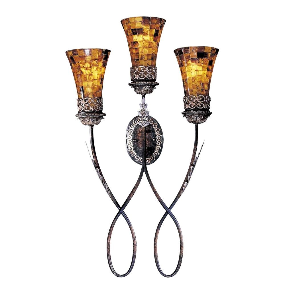 Amber Glass Wall Lights : Sconce Wall Light with Amber Glass in Cattera Bronze Finish N6512-468 Destination Lighting