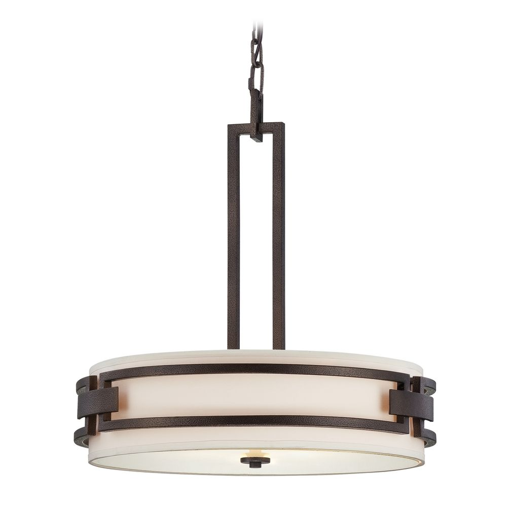 Drum Pendant Light With White Shades In Flemish Bronze