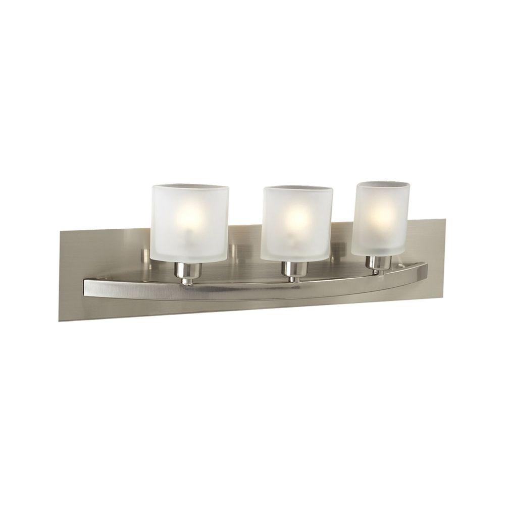 Modern bathroom light with white glass in satin nickel finish 643 sn destination lighting for Bathroom vanity tray satin nickel