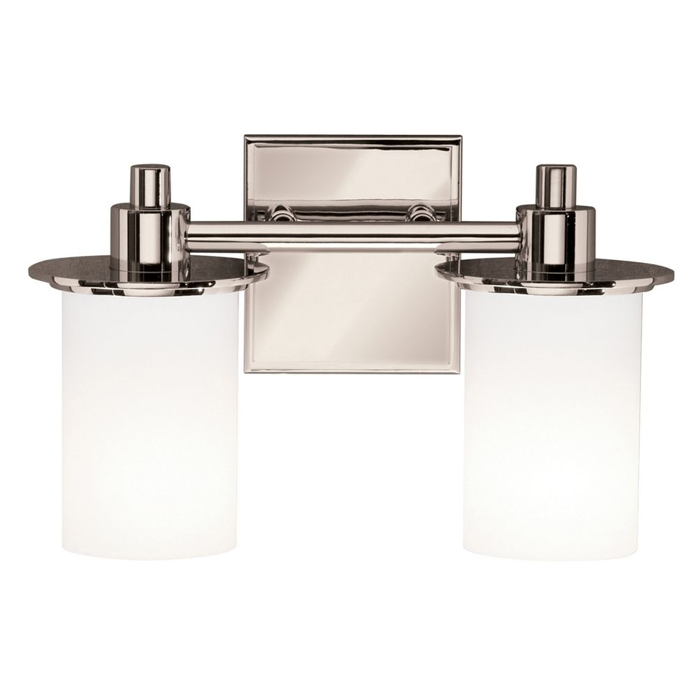 Kichler Polished Nickel Modern Bathroom Light With White Glass 5437pn Destination Lighting