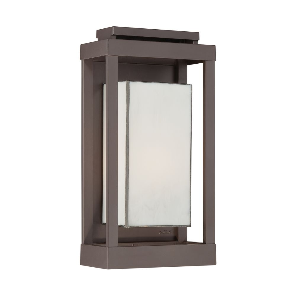 Outdoor wall light with art glass in western bronze finish for Outdoor landscape lighting fixtures