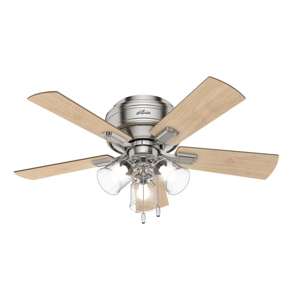 Hunter 42 Inch Brushed Nickel Led Ceiling Fan With Light At Destination Lighting