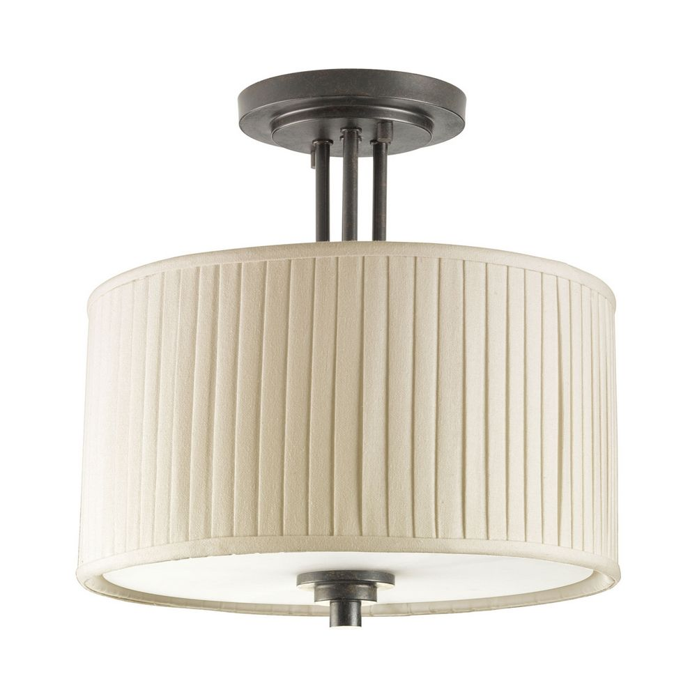 progress semi flushmount ceiling light with pleated drum. Black Bedroom Furniture Sets. Home Design Ideas