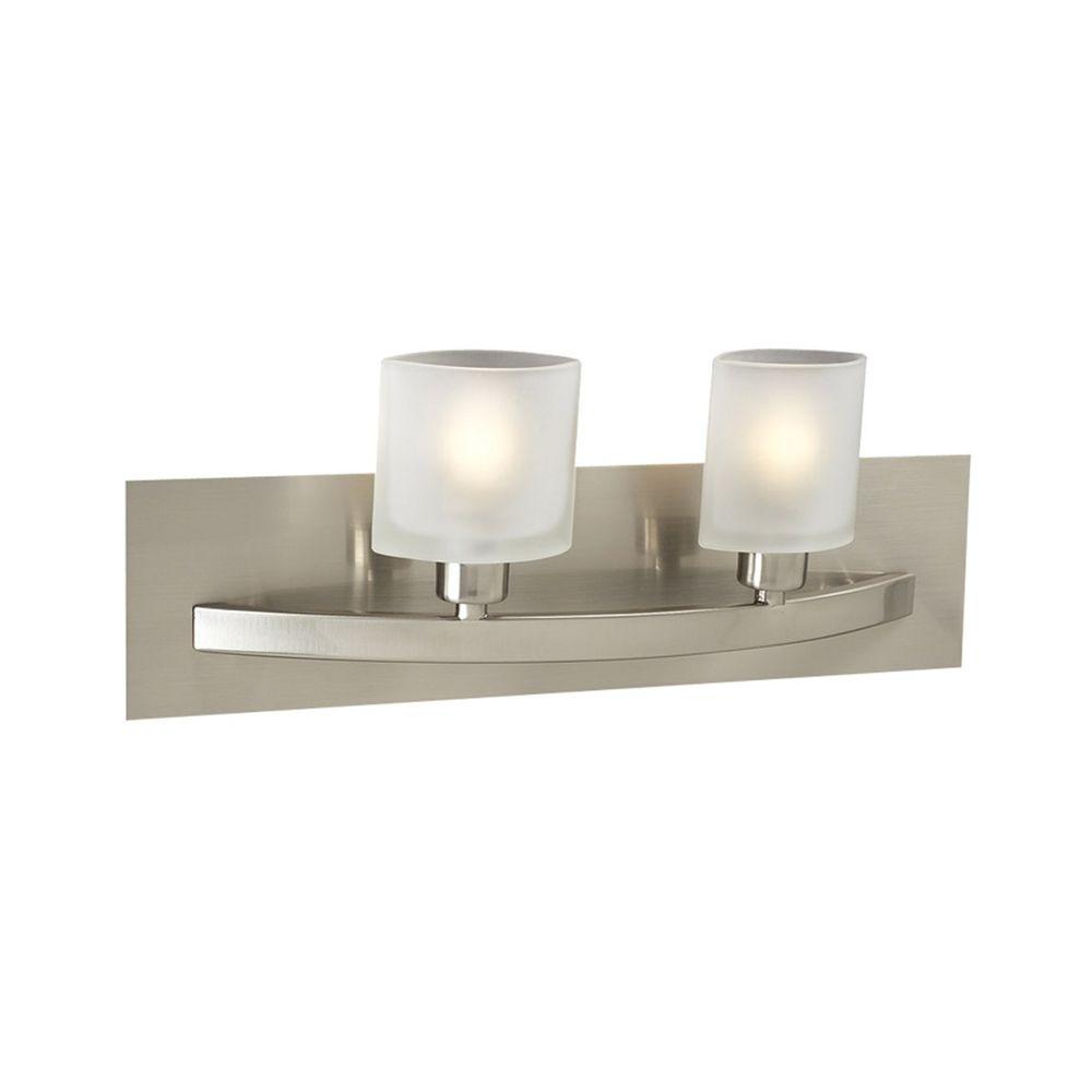 Modern Bathroom Light With White Glass In Satin Nickel Finish 642 Sn Destination Lighting