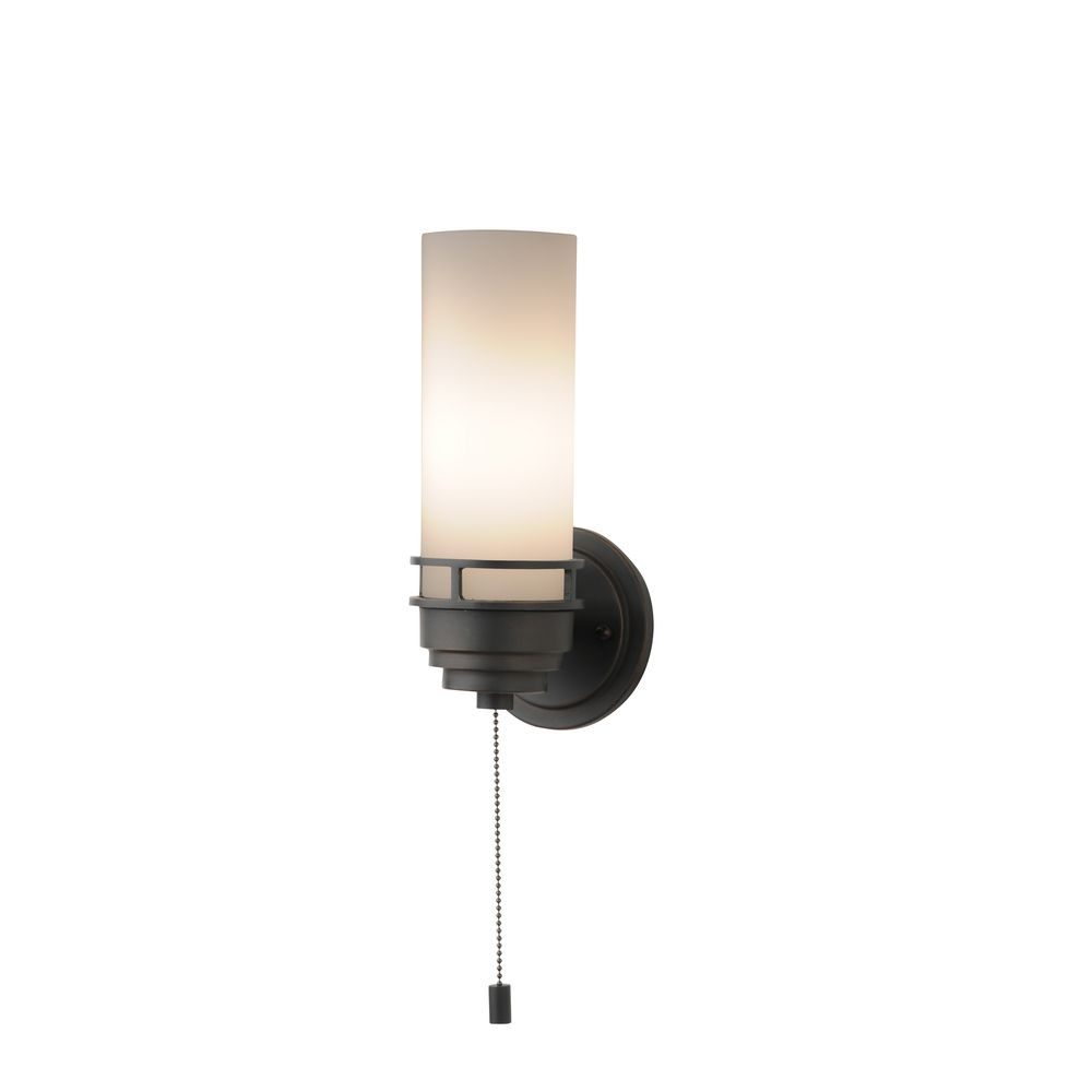 Contemporary SingleLight Sconce With PullChain Switch - Bathroom exhaust fan with pull chain for bathroom decor ideas