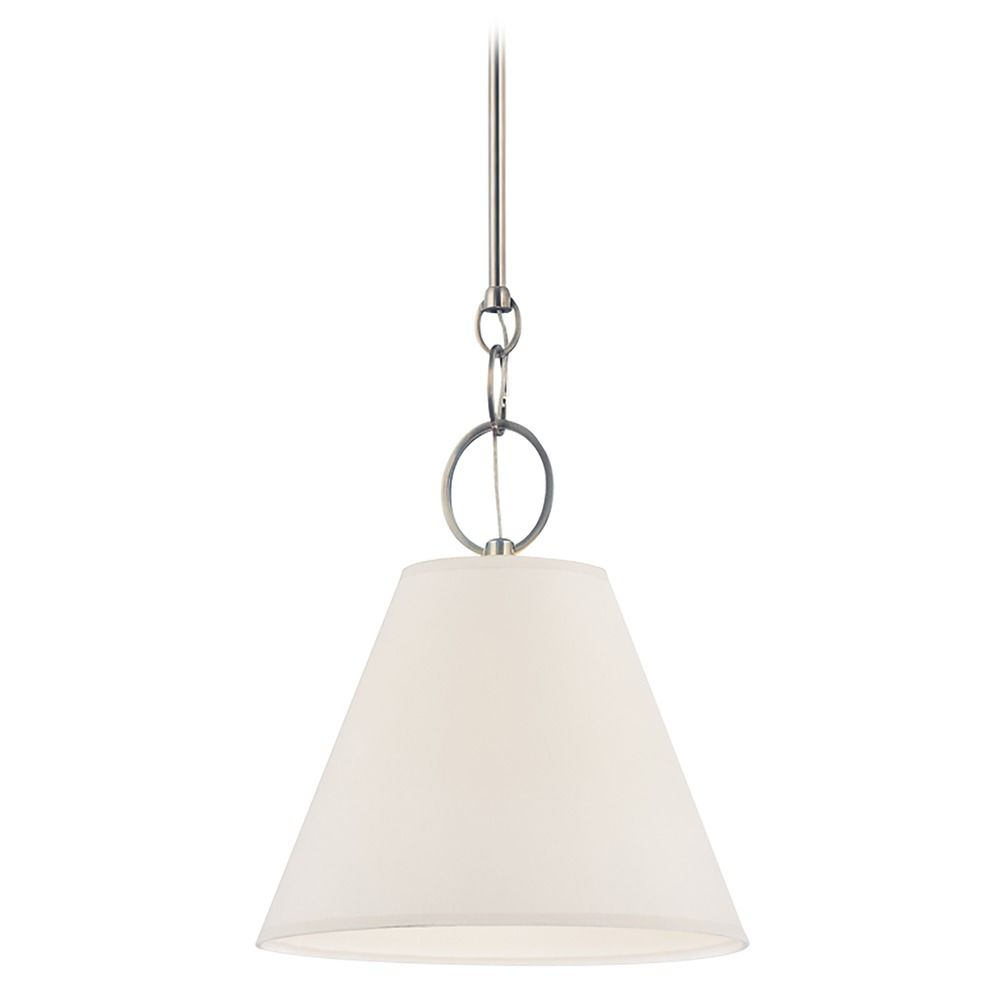 Modern Pendant Light With White Paper Shade In Historic Nickel Finish 5618 Hn Destination