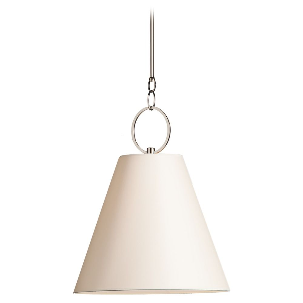 Modern Pendant Light With White Paper Shade In Polished Nickel Finish 5618 Pn Destination