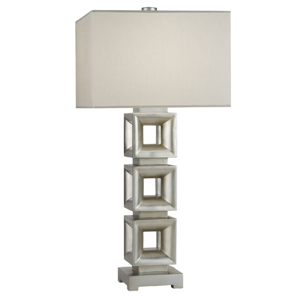 Fine Art Lamps Recollections Platinized Silver Leaf Table Lamp With Rectangle Shade At Destination Lighting