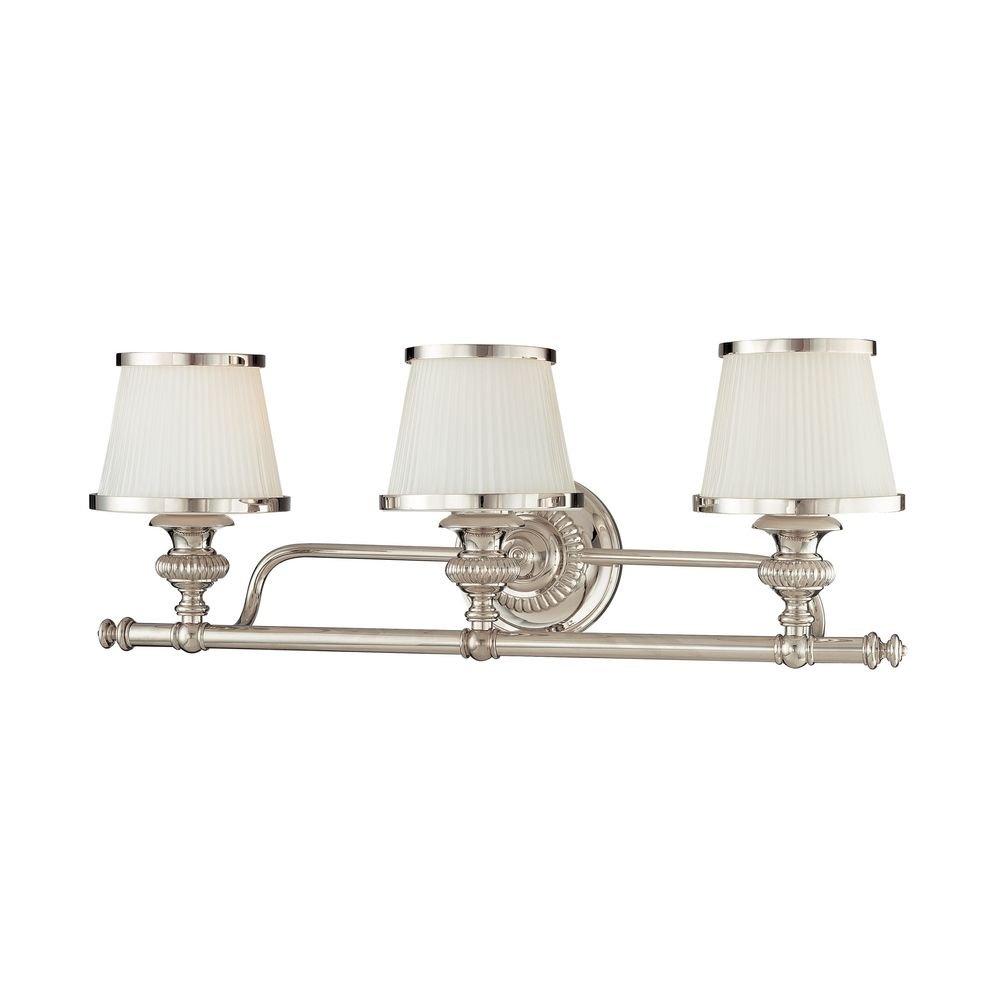 Bathroom Light With White Glass In Polished Nickel Finish 2003 Pn Destination Lighting