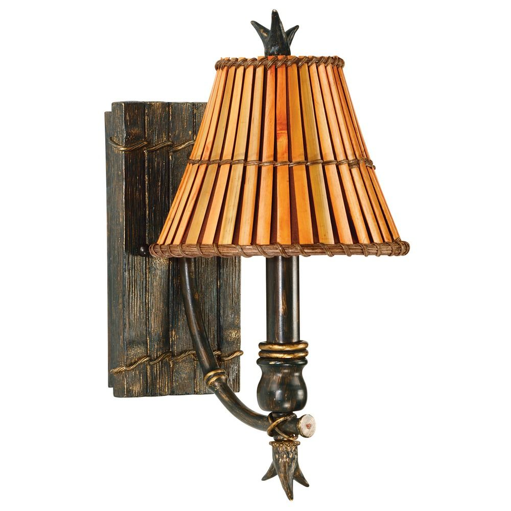 Bronze Wall Sconce With Shade : Sconce Wall Light with Brown Tones Bamboo Shade in Bronze Heritage Finish 90451BH ...