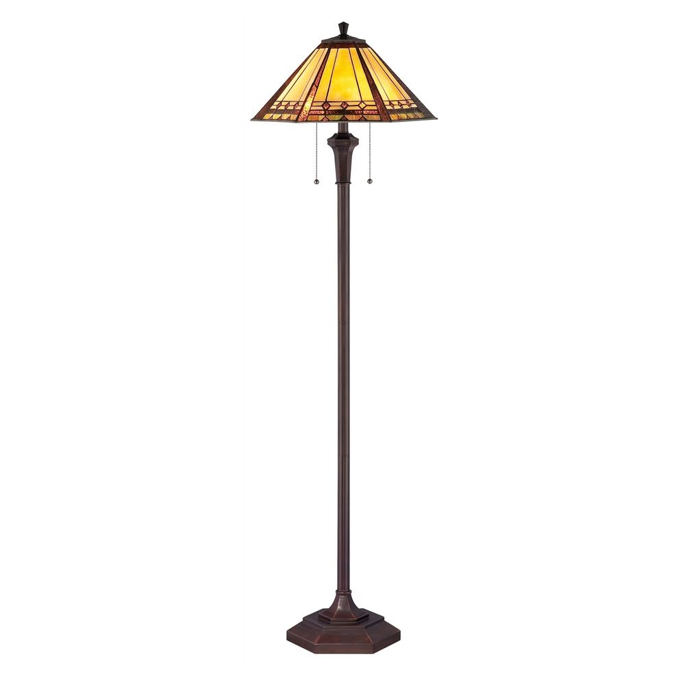 floor lamp with multi color glass in bronze patina finish With bronze coloured floor lamp