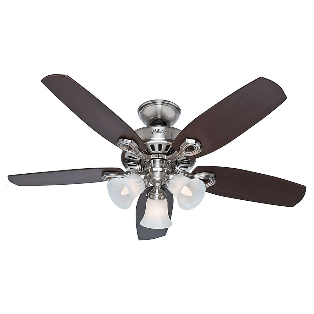 hunter fan company builder small room brushed nickel ceiling fan with light 52106. Black Bedroom Furniture Sets. Home Design Ideas