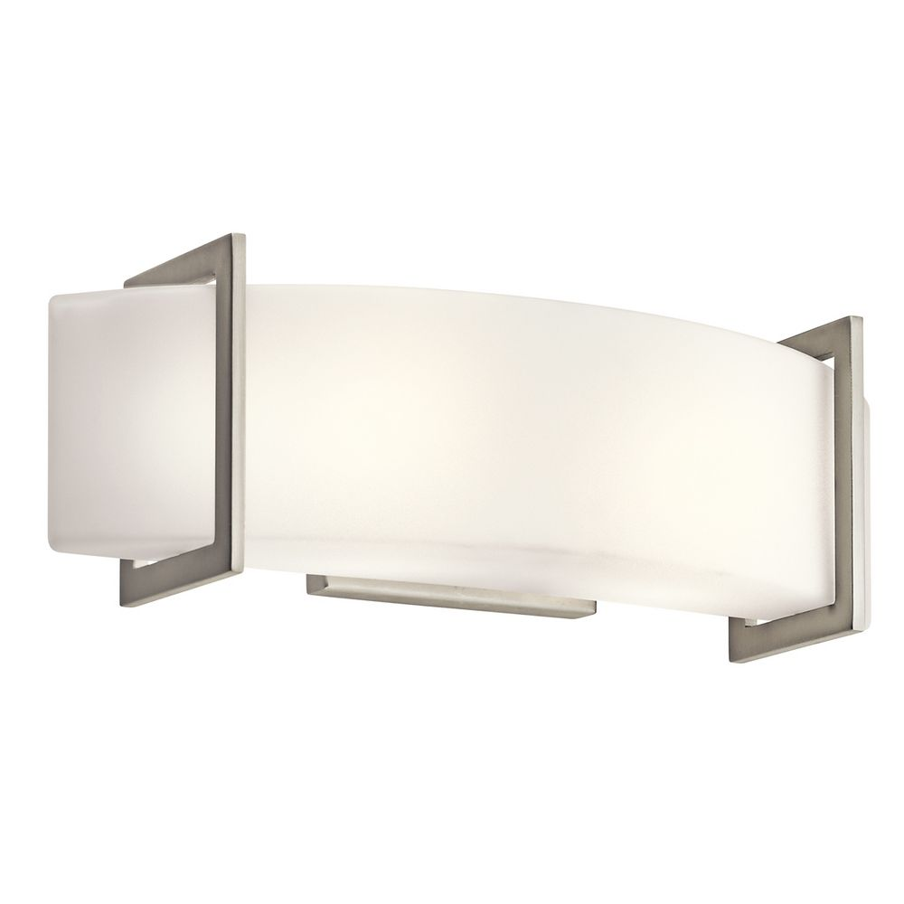 Kichler Brushed Nickel Modern Bathroom Light With White Glass 45218ni Destination Lighting