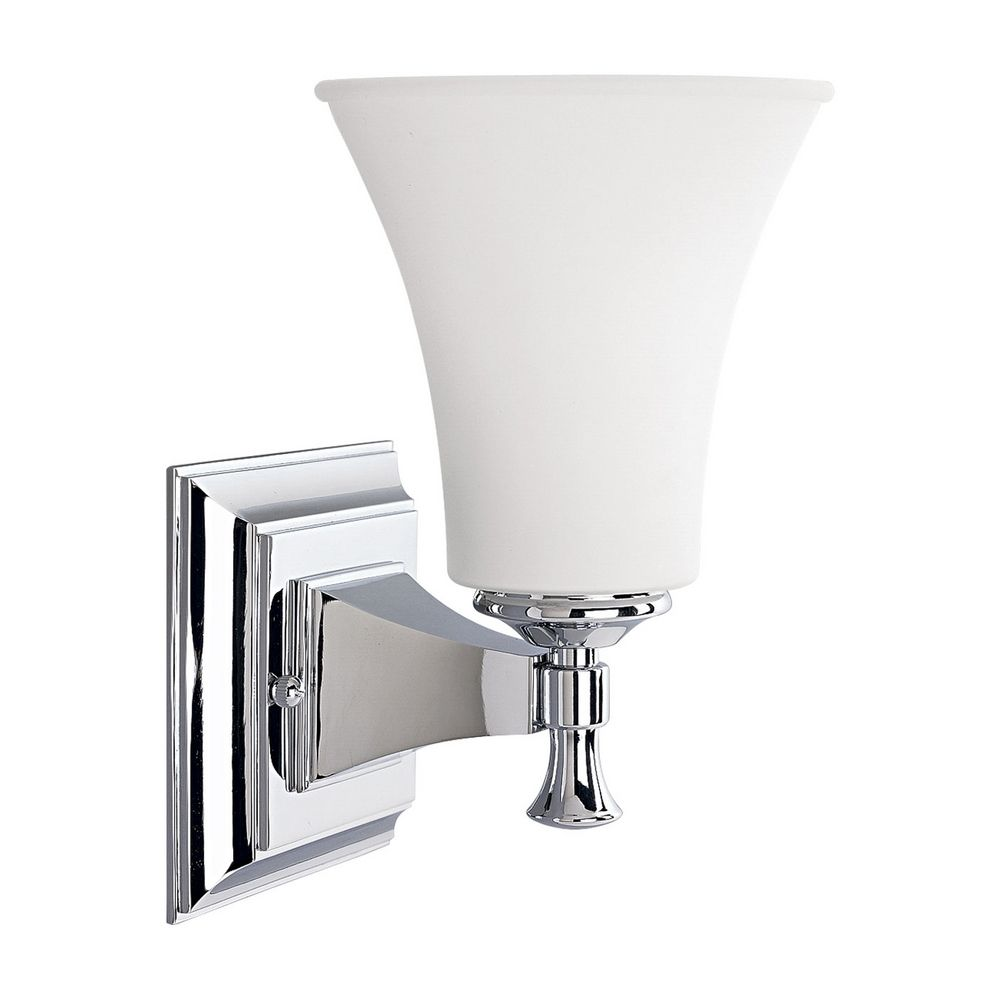 Wall Sconce Chrome Finish : Progress Sconce Wall Light with White Glass in Chrome Finish P3131-15 Destination Lighting