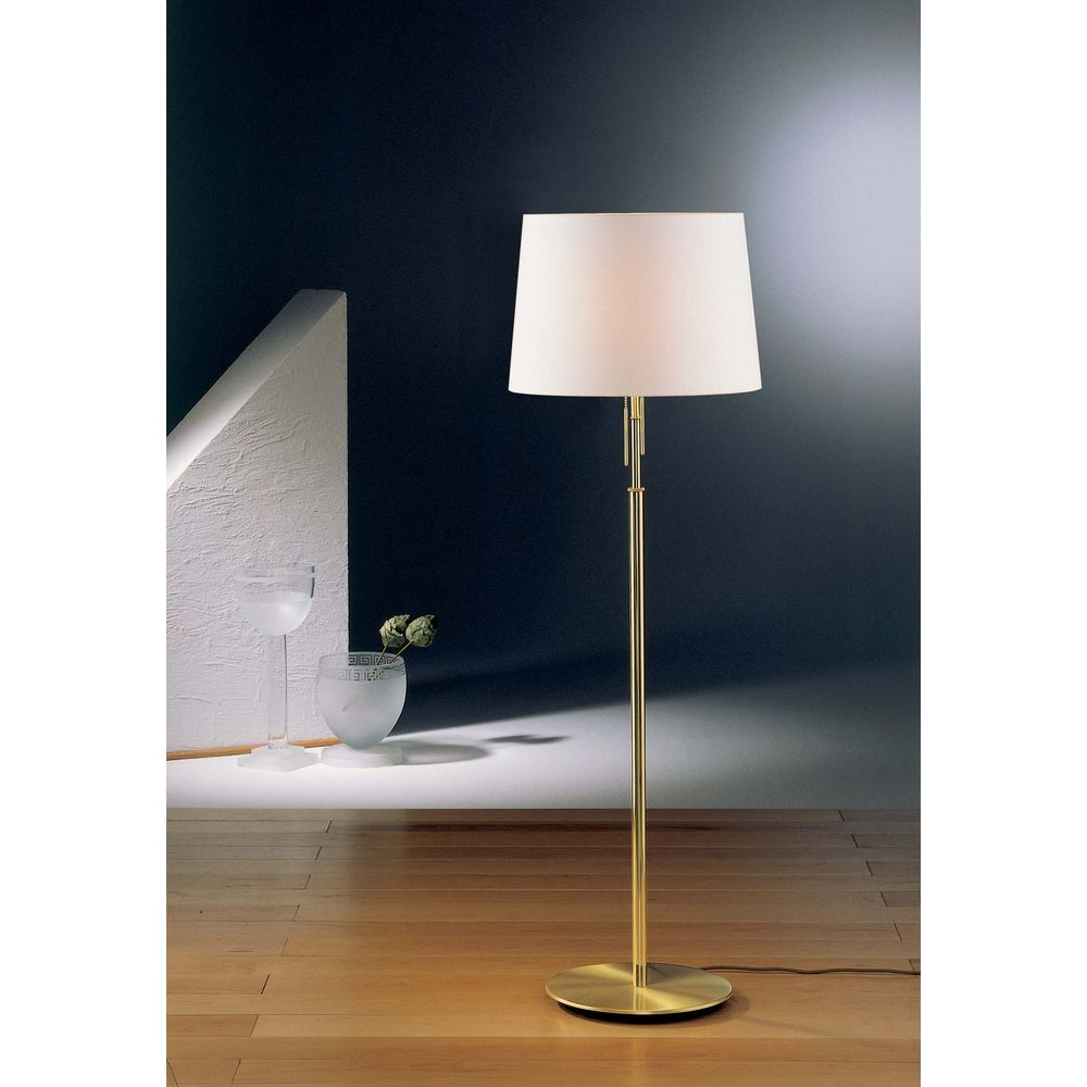 Holtkoetter Modern Floor Lamp With White Shades In Brushed