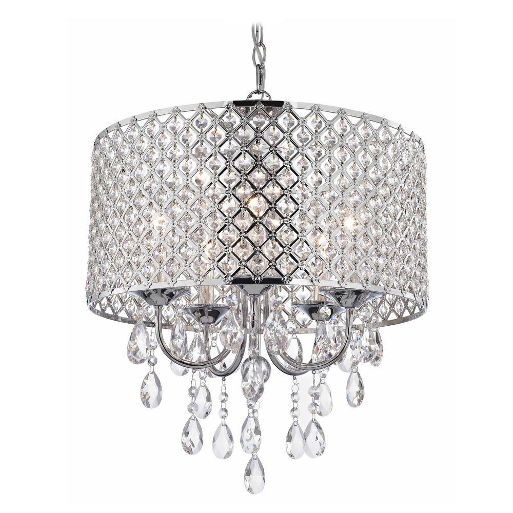 Crystal Chrome Chandelier Pendant Light