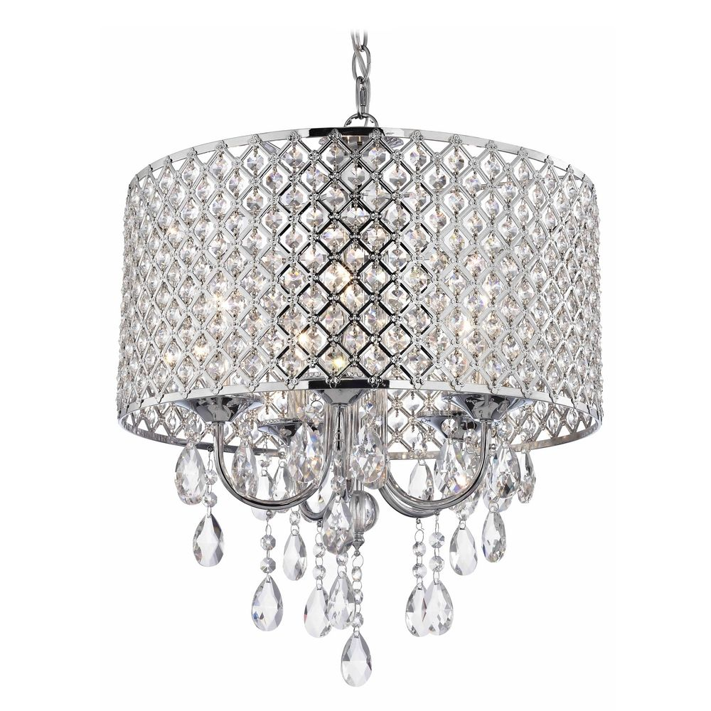 Crystal Chrome Chandelier Pendant Light With Beaded Drum Shade Alt2