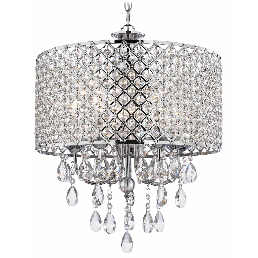 Crystal Chrome Chandelier Pendant Light With Beaded Drum Shade