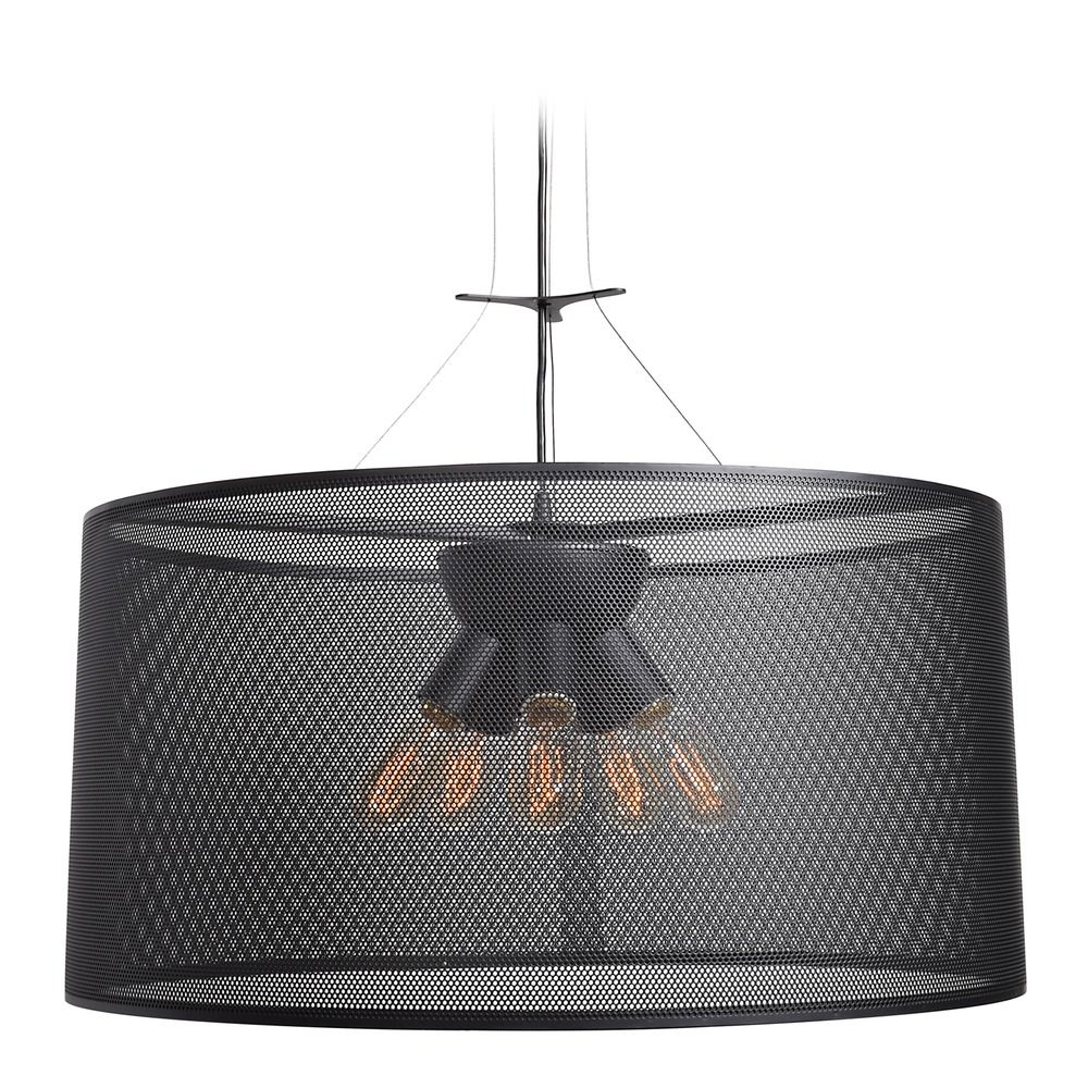 Industrial Pendant Light Black Drum Shade Epic By Access