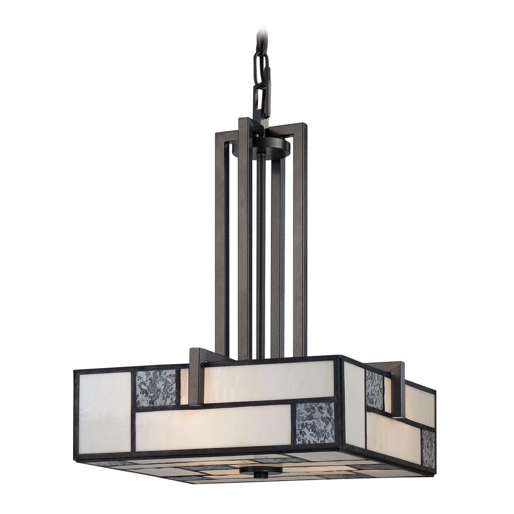 Pendant light with art glass in charcoal finish 84131 Artisan glass pendant lights