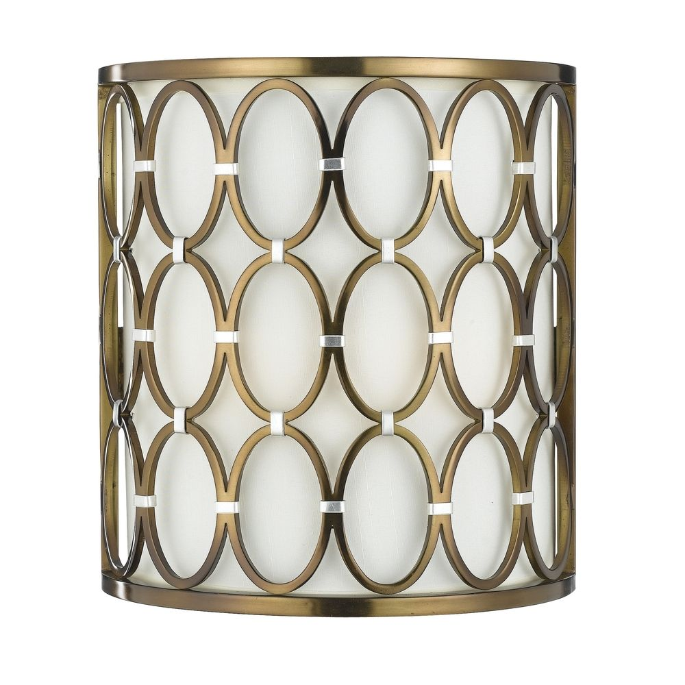 Satin Brass Wall Lights : Sconce Wall Light with Beige / Cream Cage Shade in Satin Brass Finish 8220-2W Destination ...