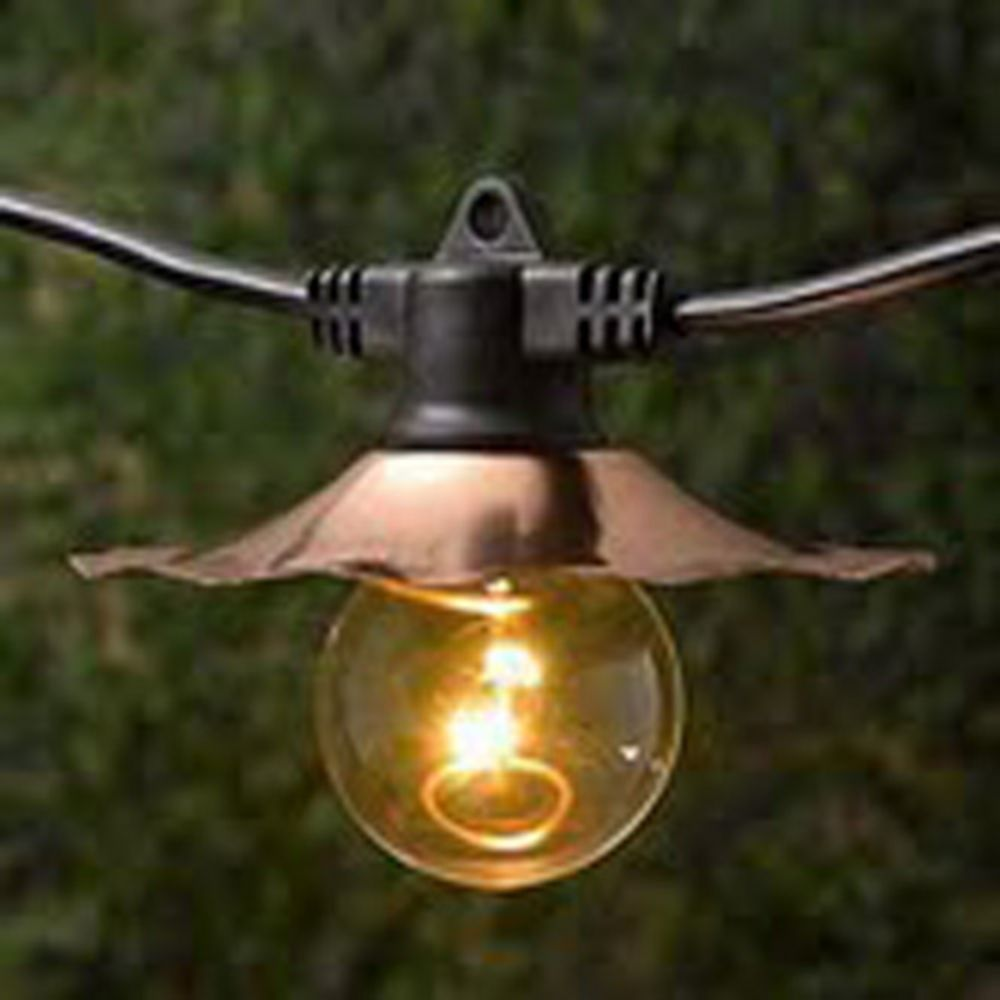 Outdoor String Lights Large Bulbs : Decorative String Lights with Copper Shades - Bulbs Not Included SL3507C Destination Lighting