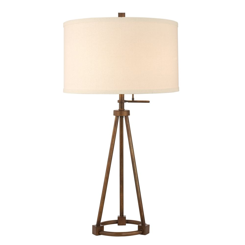 Tripod Table Lamp In Bronze Finish With Cream Drum Shade