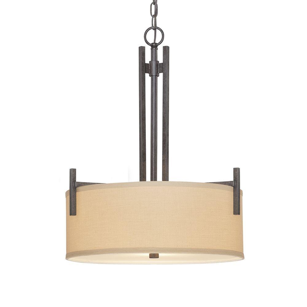 linen pendant light three light pendant with linen shade