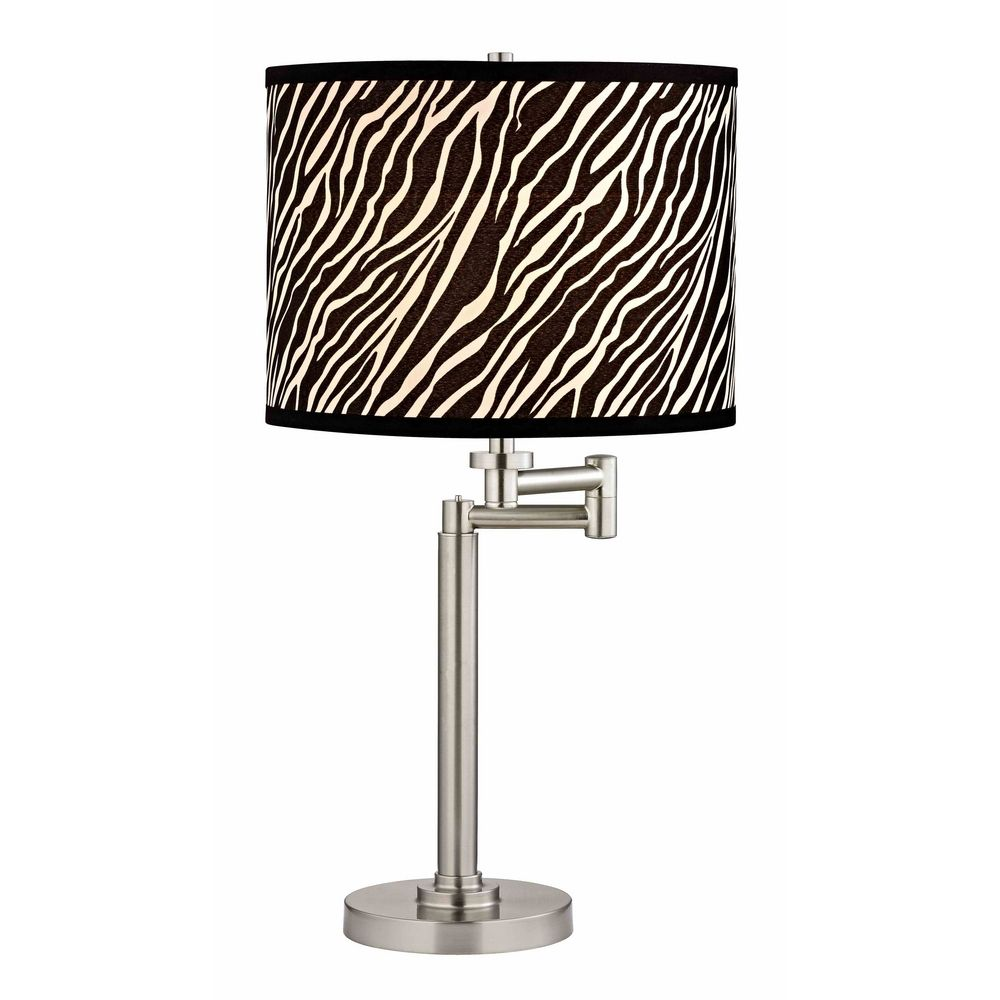 Swing arm table lamp with zebra print lamp shade 1902 09 sh9485 product image mozeypictures Choice Image