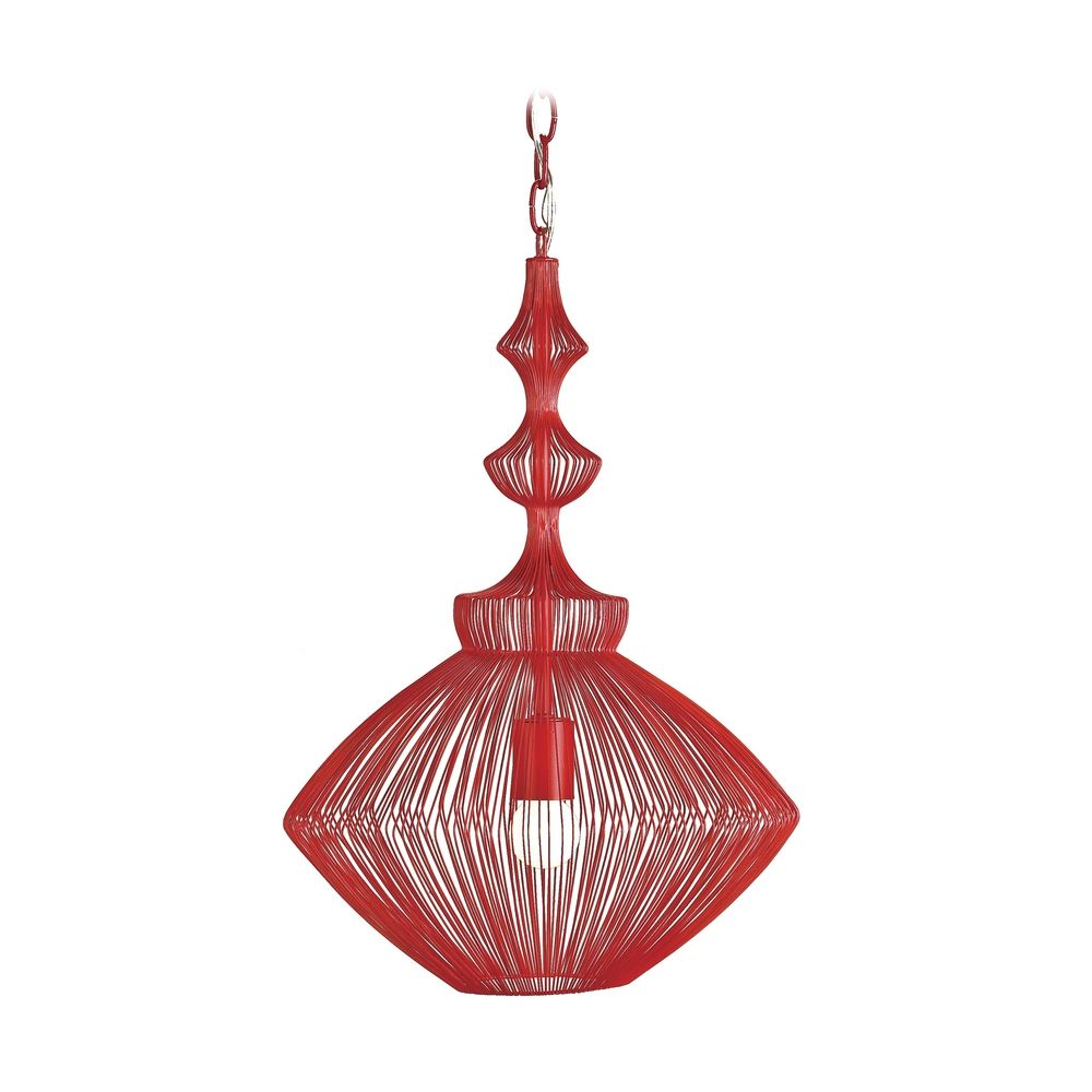 Modern Red Pendant Light with Wire Frame 9068 Destination Lighting