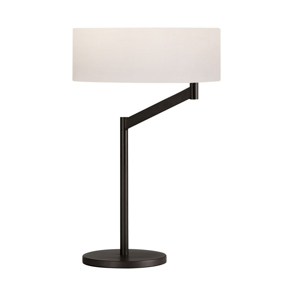 Modern Table Lamp With White Shade In Coffee Bronze Finish Destination Lighting