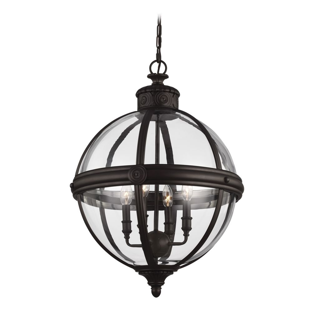 feiss lighting adams oil rubbed bronze pendant light with globe shade - Bronze Pendant Light