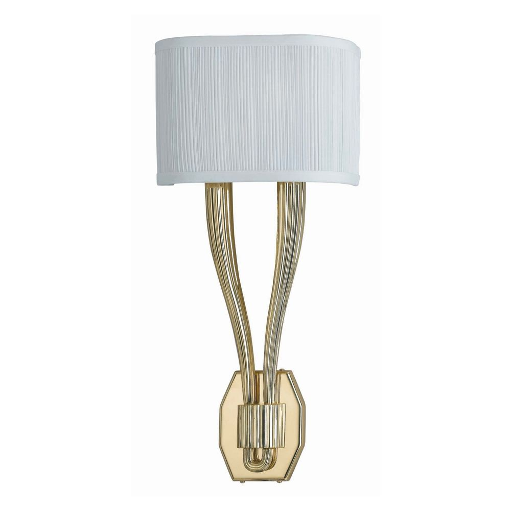 Sconce Wall Light with White Shades in Polished Brass Finish 582-PB Destination Lighting