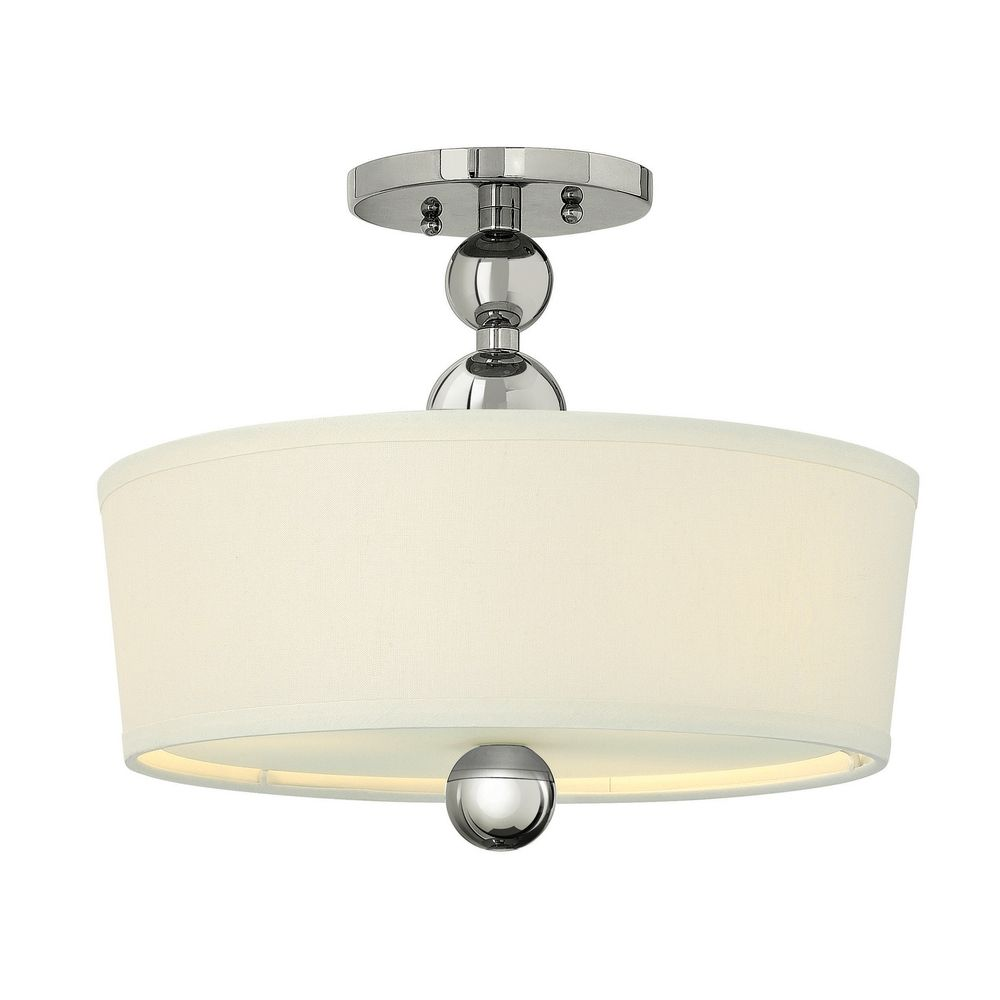 Hinkley Drum Lighting: Retro Drum Ceiling Light With White Shade In Polished