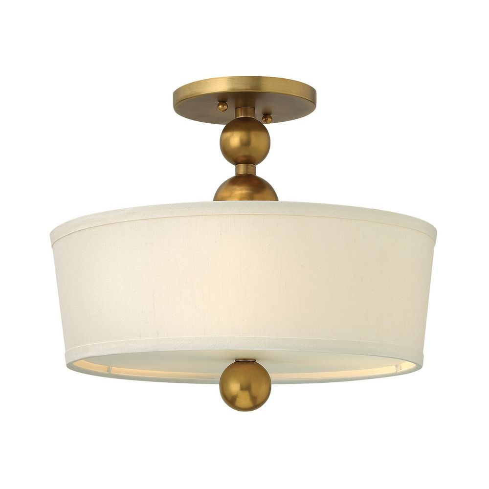 Ceiling Light With White Drum Shade In Vintage Brass