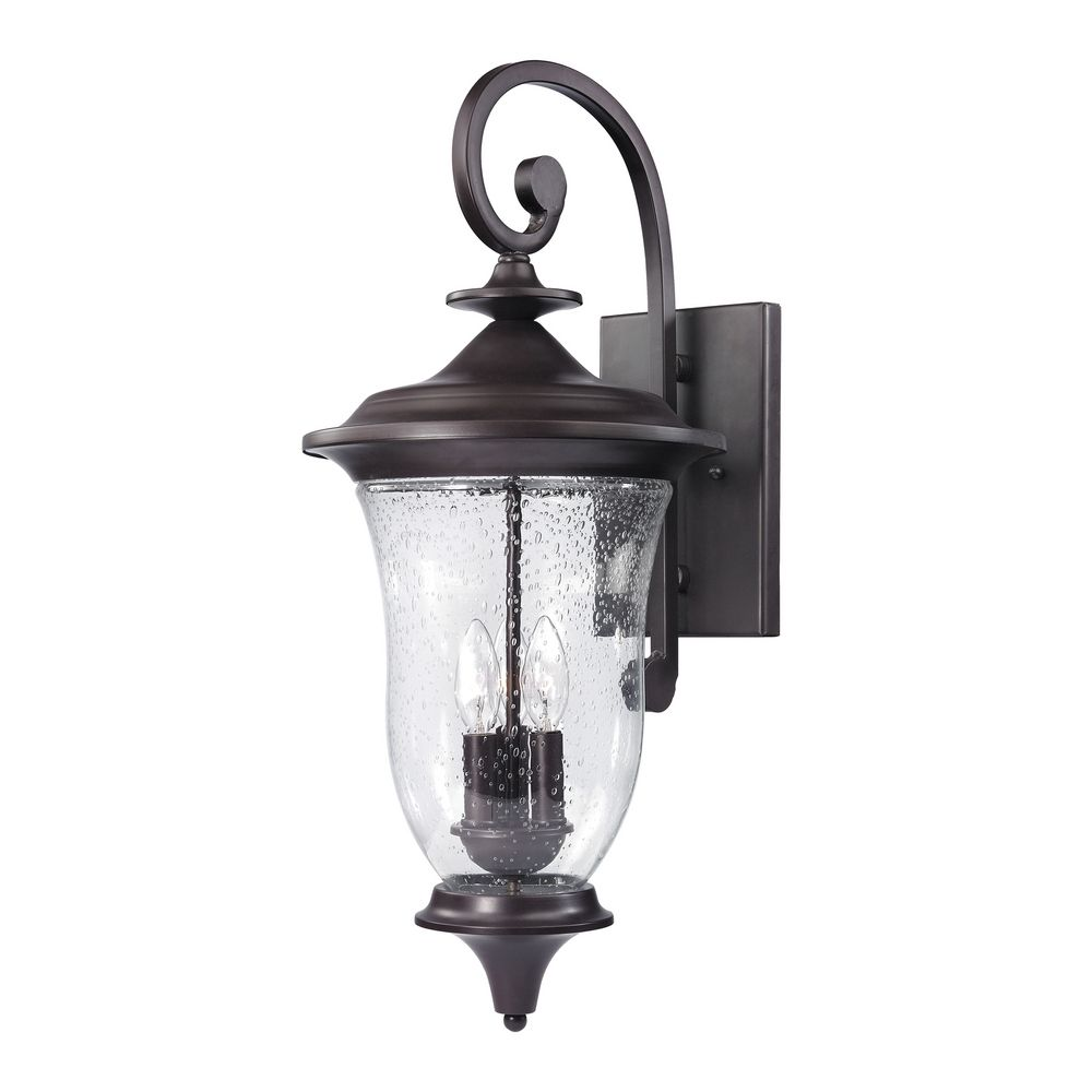Seeded Glass Outdoor Wall Light Oil Rubbed Bronze Thomas