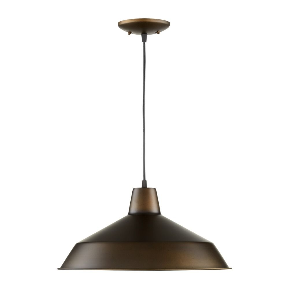 Barn Light Pendant Oiled Bronze 16-inch Wide By Quorum