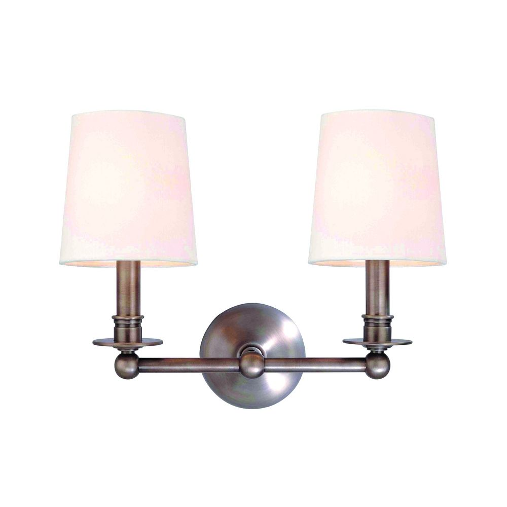 Antique Nickel Wall Sconces : Sconce Wall Light with White Shades in Antique Nickel Finish 182-AN Destination Lighting