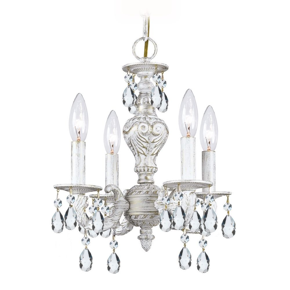 Crystal mini chandelier in antique white finish 5024 aw cl mwp destination lighting - Small bathroom chandelier crystal ...
