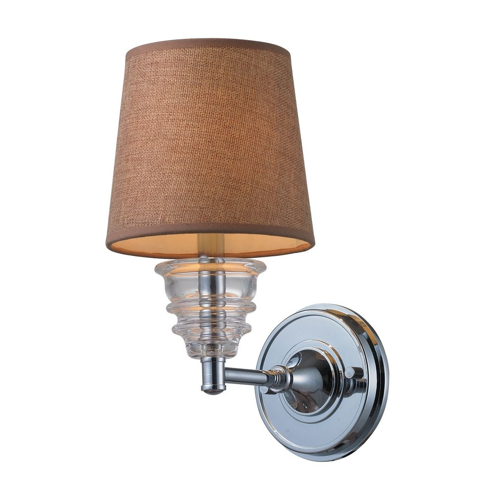Wall Sconce Chrome Finish : Sconce Wall Light with Brown Shade in Polished Chrome Finish 66801-1 Destination Lighting