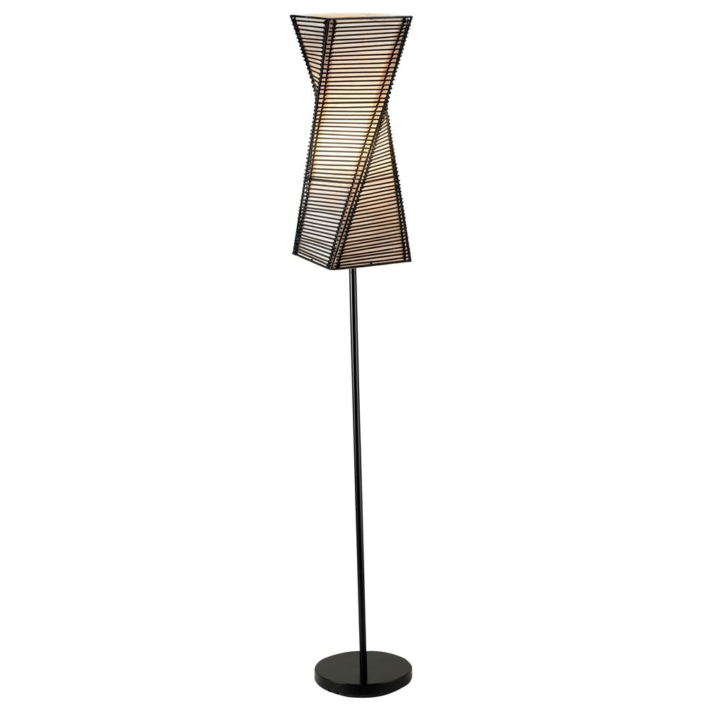 Modern Floor Lamp With Beige Cream Paper Shade In Black