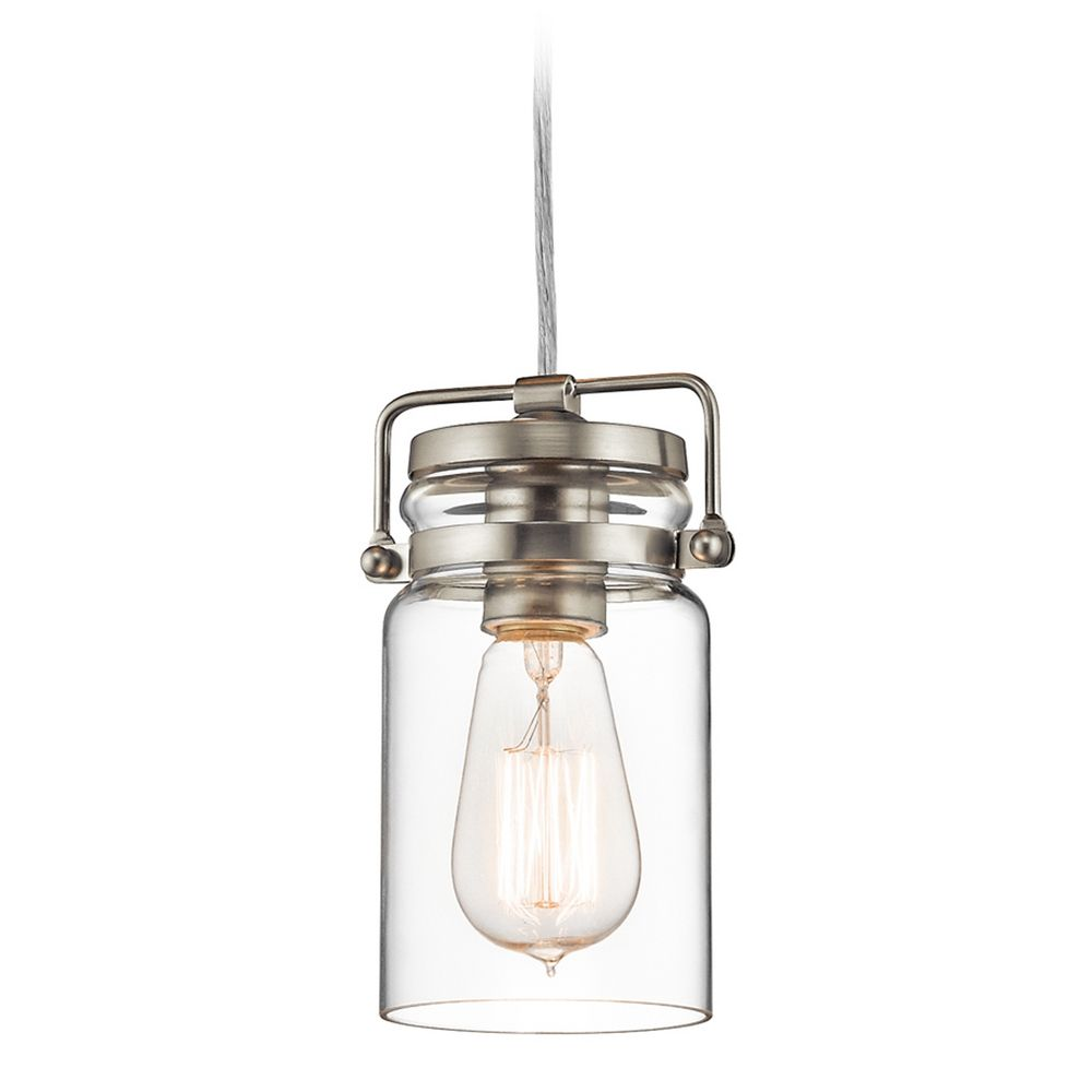 Kichler Lighting Brinley Brushed Nickel Mini Pendant Light With Cylindrical S
